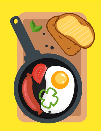 Fried eggs with sausage on the pan, sandwich with butter, illustration for your design. Cover for the menu. Illustration