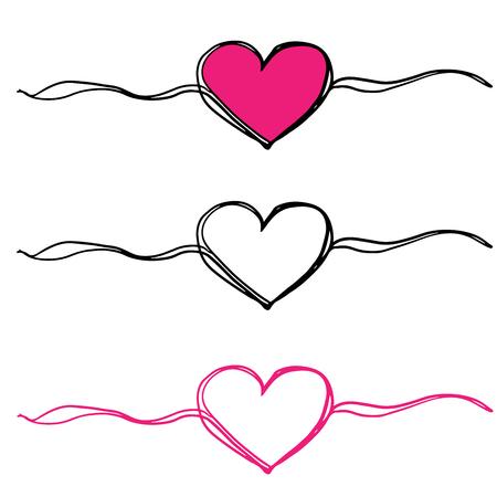 vector de ilustración de doodle de tres corazones