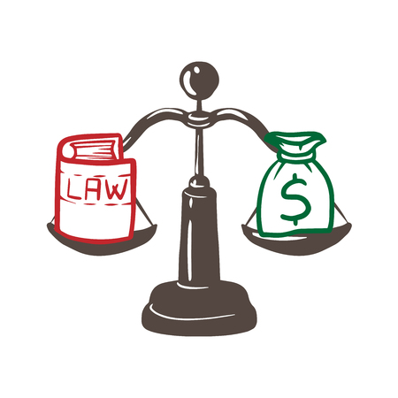 Balance between law and money illustration design over a white background doodle