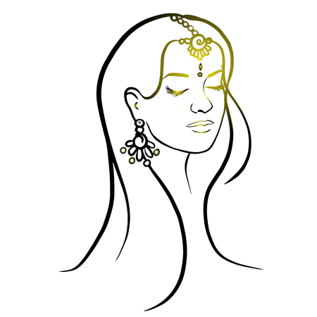 Woman head abstract silhouette. Hand drawn isolated vector illustration..Black ink lines on the white background. doodle Иллюстрация