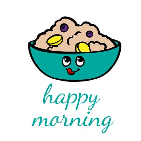 Vector illustration. Bowl of porridge isolated on background. doodle