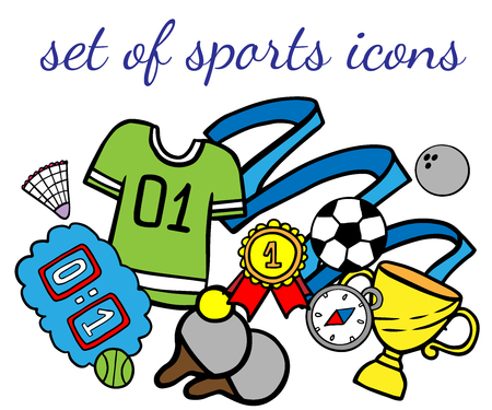 Doodle set of sport icons on a white background Çizim