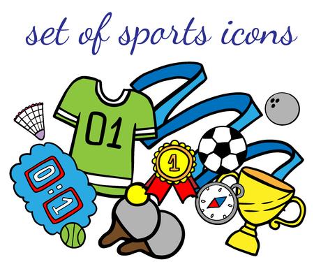 Doodle set of sport icons on a white background Illustration
