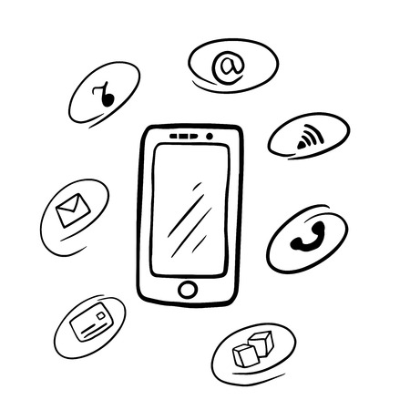 doodle smart phone with icons in bubble speech