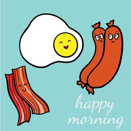 Funny Bacon and egg yolk. Flat icon. Vector illustration