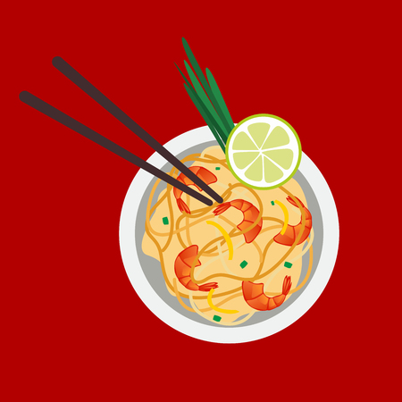 Pad Thai or Stir Fried Noodles with Prawns on Chalkboard. Thai Cuisine, Pad Thai or Thai Stir Fried Noodles with Prawns on Chalkboard. One of The Most Popular