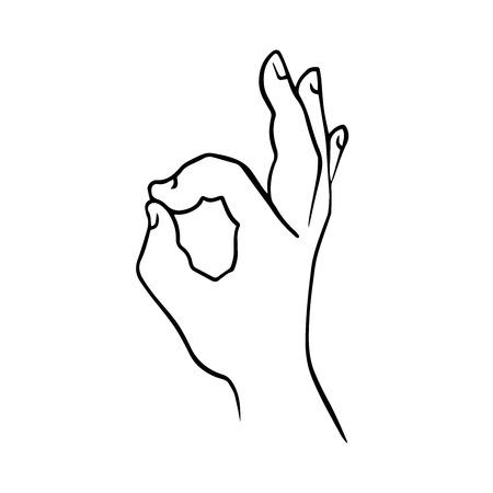 hand making gestures OK, doodle sketch on white background