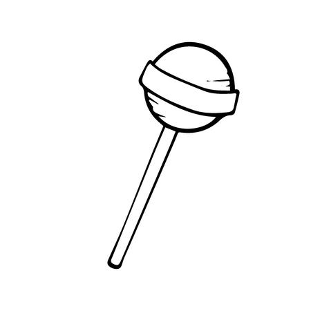 Lutscher-Doodle-Skizze auf weißem Hintergrund Vektorgrafik