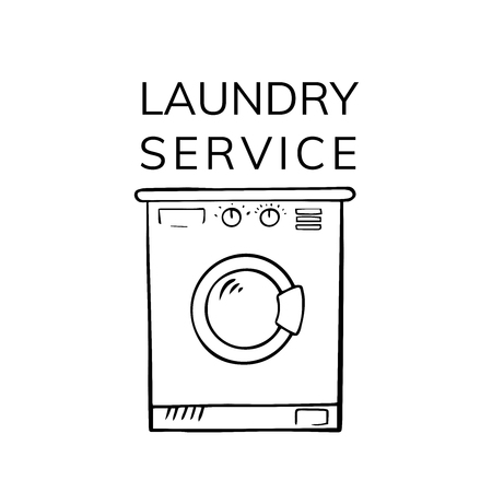 Hand drawn doodle Laundry set Vector illustration washing icons isolated on the white background. Laundry concept elements. Branding technology concept for Header banner, flyer, card, brochure.