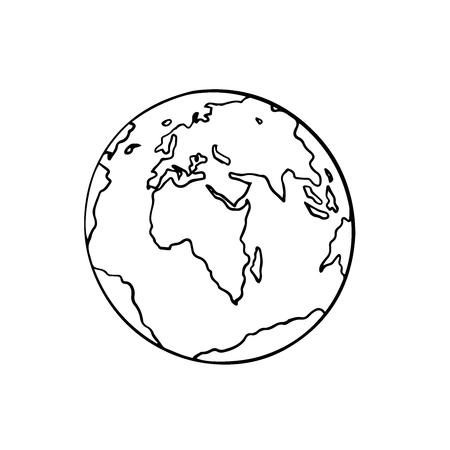 globe, doodle sketch on a white background, isolate, Asia and Europe Ilustração