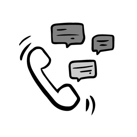 doodle handset  with speech bubble
