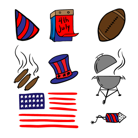 Set Doodle Sketch America Independence Day, cartoon drawings for July 4th on a white background