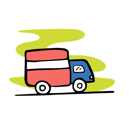 doodle sketch truck icon on white background