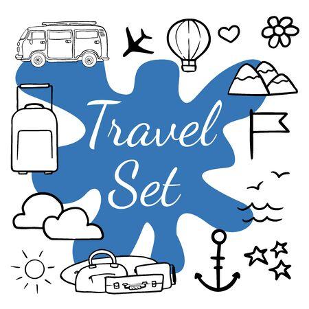 Doodle sketch icons recreation, suitcase, cloud, plane, sea, sun.