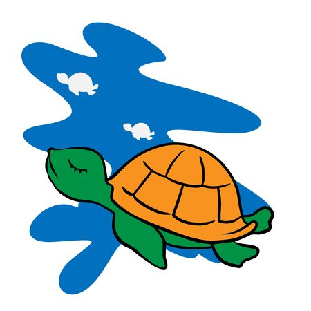 Cartoon drawing of a turtle on a white background, a reptile in the sea Ilustração