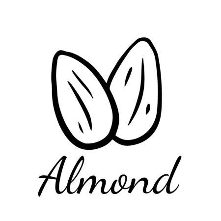 Doodle sketch almond, walnut icon on white background Banco de Imagens - 126878120