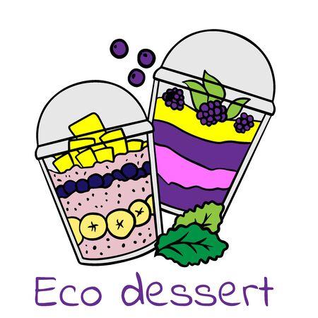 Doodle sketch eco dessert in a glass, Homemade Organic Fresh Fruit Parfait. Vegan Dessert Illustration 向量圖像