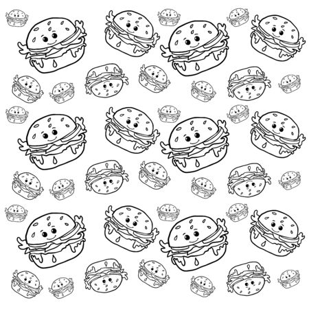 Doodle sketch of cute burgers and cheeseburgers on a white background.