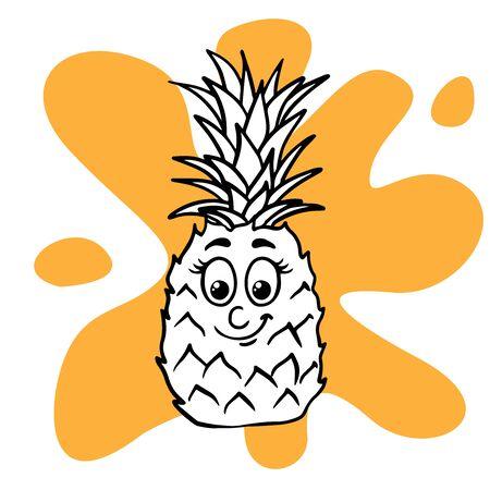 Doodle sketch of cute pineapple cartoon illustration isolated Çizim