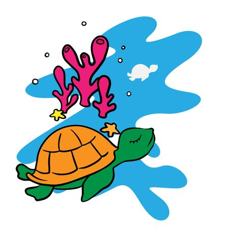 Cartoon drawing of a turtle on a white background Stock Illustratie