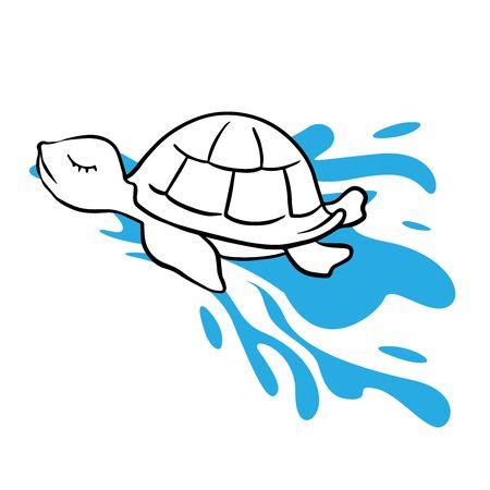 Doodle sketch turtle in the sea, cartoon drawing