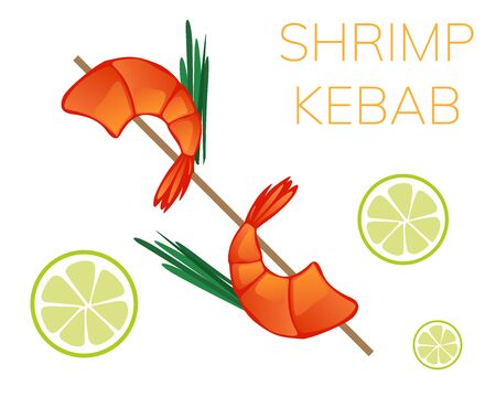 Shrimp kebab on wooden stick isolated on white background. vector illustration.