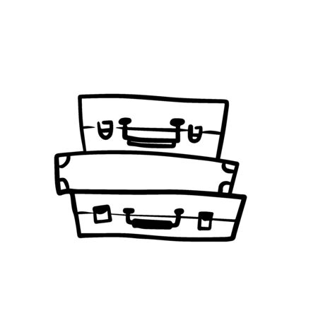 Doodle sketch of suitcases cartoon illustration on white background 向量圖像