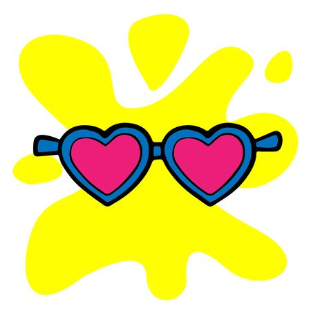 Doodle sketch hearts sunglasses, cartoon illustration isolated on white background Ilustracja
