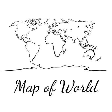world map outline graphic sketch style, background vector of Asia Europe north south america and africa Ilustrace