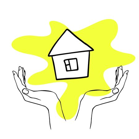 doodle sketch hands hold house on white background Иллюстрация