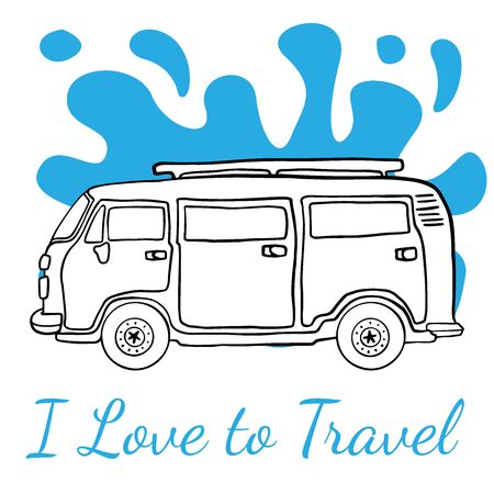 Doodle sketch car, van for travel, cartoon drawing on a white background.