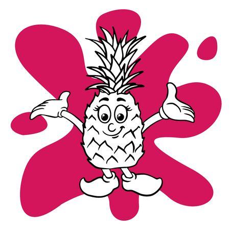 Doodle sketch of cute pineapple cartoon illustration isolated Stock Illustratie