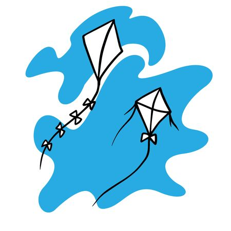 Doodle sketch of kites in the sky, cartoon drawing on a blue background