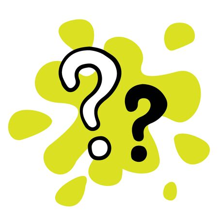 doodle sketch question marks icon on white background