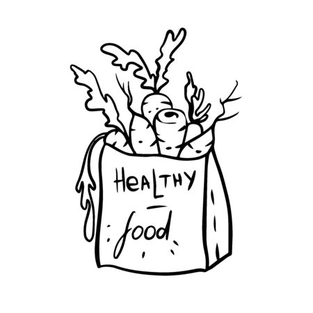 doodle sketch carrots in paper bag, healthy food icon Illustration