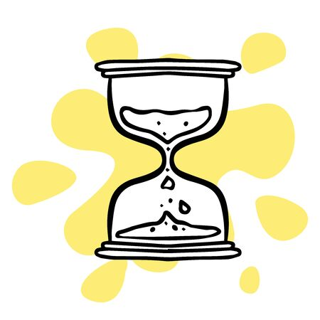 doodle sketch hourglass icon on white background