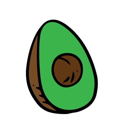 doodle avocado sketch on a white background