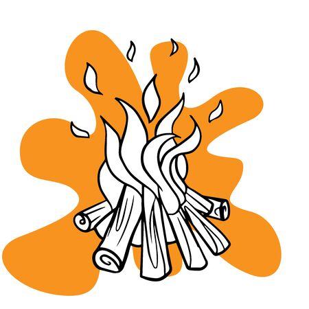 Doodle sketch bonfire, cartoon illustration on white background Иллюстрация