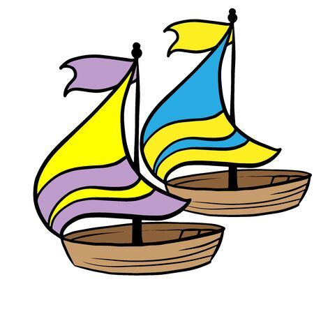 doodle sketch ship with a sail on a white background Illustration