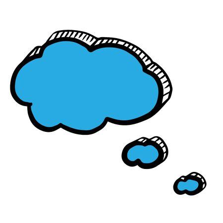 Blue clouds doodle. Vector illustration