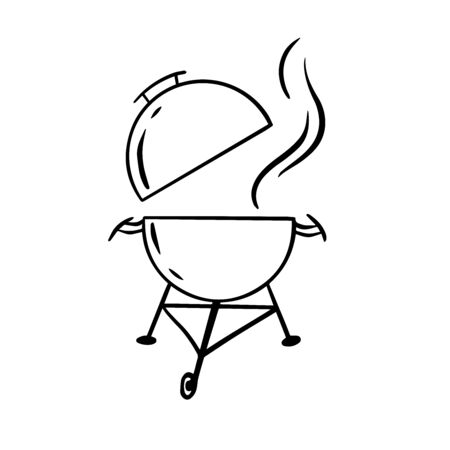 Doodle sketch barbecue with sausages on a white background  イラスト・ベクター素材