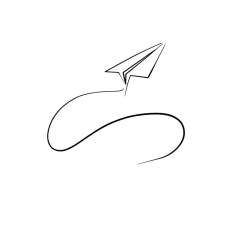 doodle sketch paper airplane, illustration of a flying airplane Иллюстрация