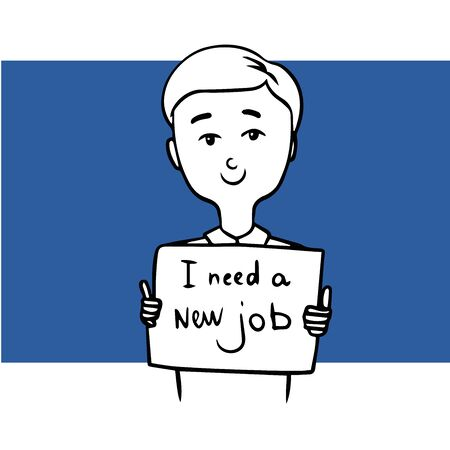 young man looking for a new job. doodle illustration