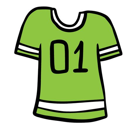 Colorful cartoon soccer uniform t-shirt. Colorful cartoon soccer uniform t-shirt text number one. Sport theme vector illustration for icon, sticker sign, patch Иллюстрация