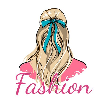 Illustration of a girl from the back, beautiful hair with a bow, fashion drawing on a white background