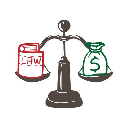 Balance between law and money illustration design over a white background doodle Standard-Bild - 129899346