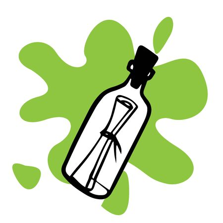 Doodle sketch bottle with a message on a white background Иллюстрация