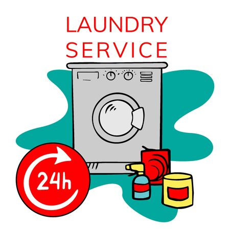 Hand drawn doodle Laundry set Vector illustration washing icons isolated on the white background. Laundry concept elements. Branding technology concept for Header banner, flyer, card, brochure. Standard-Bild - 129899506
