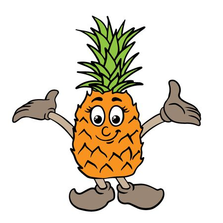 Doodle sketch of cute pineapple cartoon illustration isolated on white background Stock Illustratie
