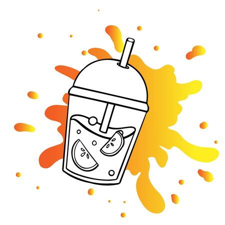 sketch doodle smoothie in a cup, cartoon drawing of a drink on a white background